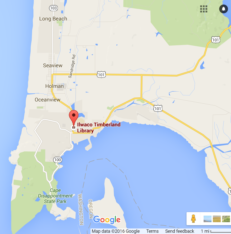 Map to Ilwaco Timberland Library in Ilwaco Community Center